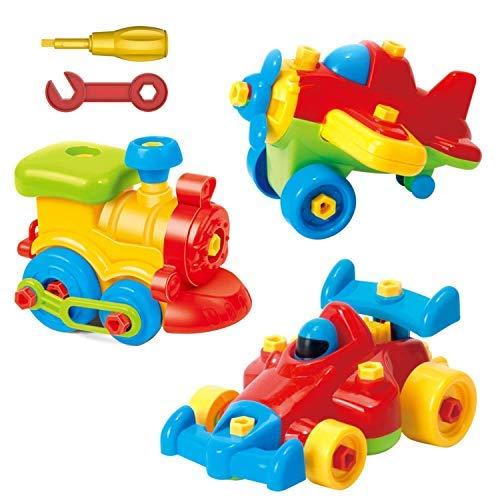 Take Apart Toys - Toy Airplane - Toy Train - Toy Racing Car for kids with tool Set - The Take-A-Part Play Set Construction Engineering Building Game Toys For Boys And Girls 3 Year Olds And Up - 3 Pack