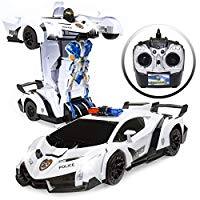 Kids Interactive Transforming RC Remote Control Robot Drifting Sports Race Car Toy w/ Sounds, LED Lights