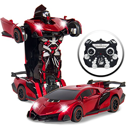 Kids Interactive Transformer RC Remote Control Robot Drifting Sports Race Car Toy w/ Sounds, LED Lights - Red