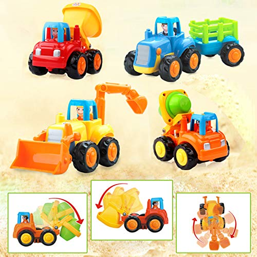 Set of 4 Cartoon Friction Powered Push & Play Vehicles for Toddlers - Dump Truck, Cement Mixer, Bulldozer, Tractor