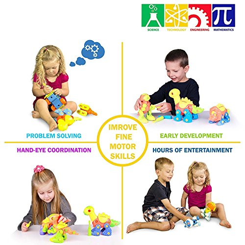 Take Apart Toys With Tools, Dinosaur Car Toys STEM Learning (153 pieces), Educational Construction