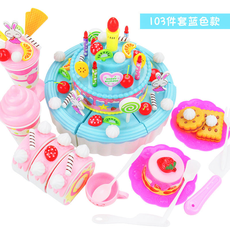 _ children play toy toy house DIY acousto-optic toy cake slice
