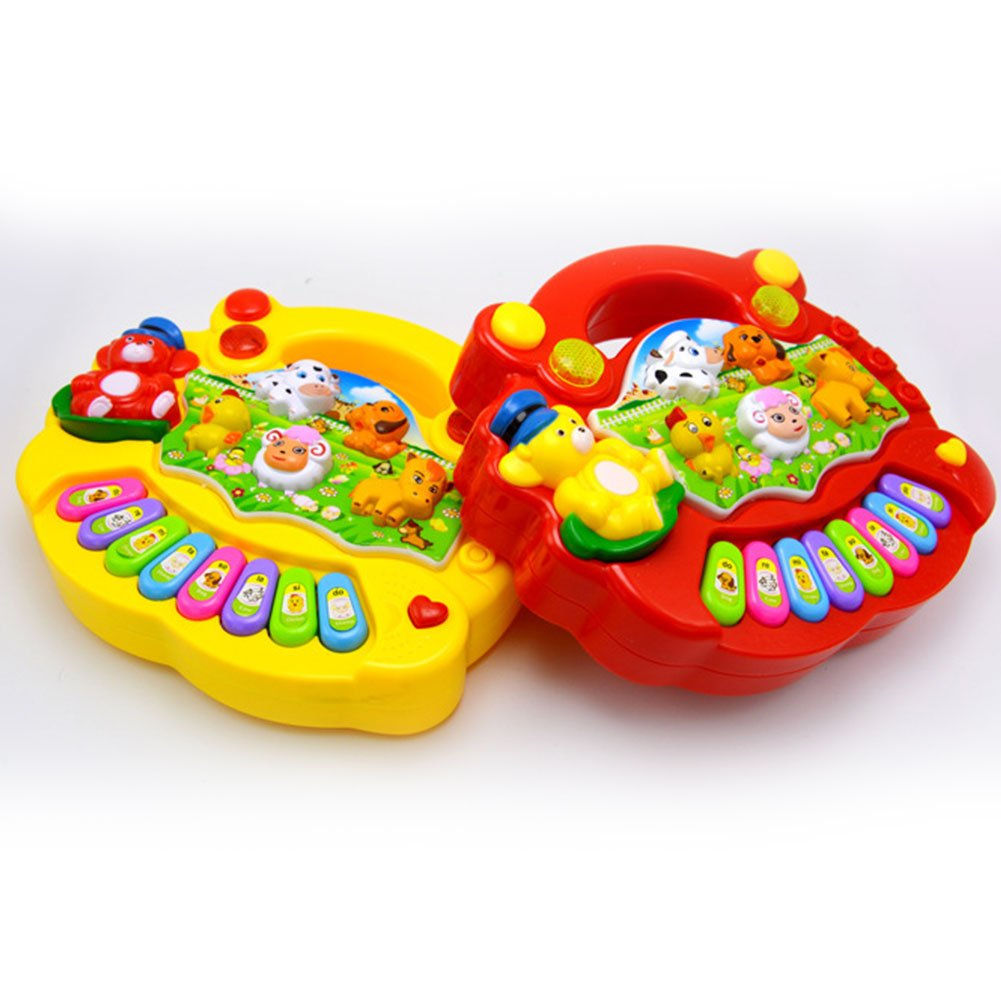 Cute Animal Farm Musical Electronic Organ Developmental Toy Early Educational Toy for Baby Red