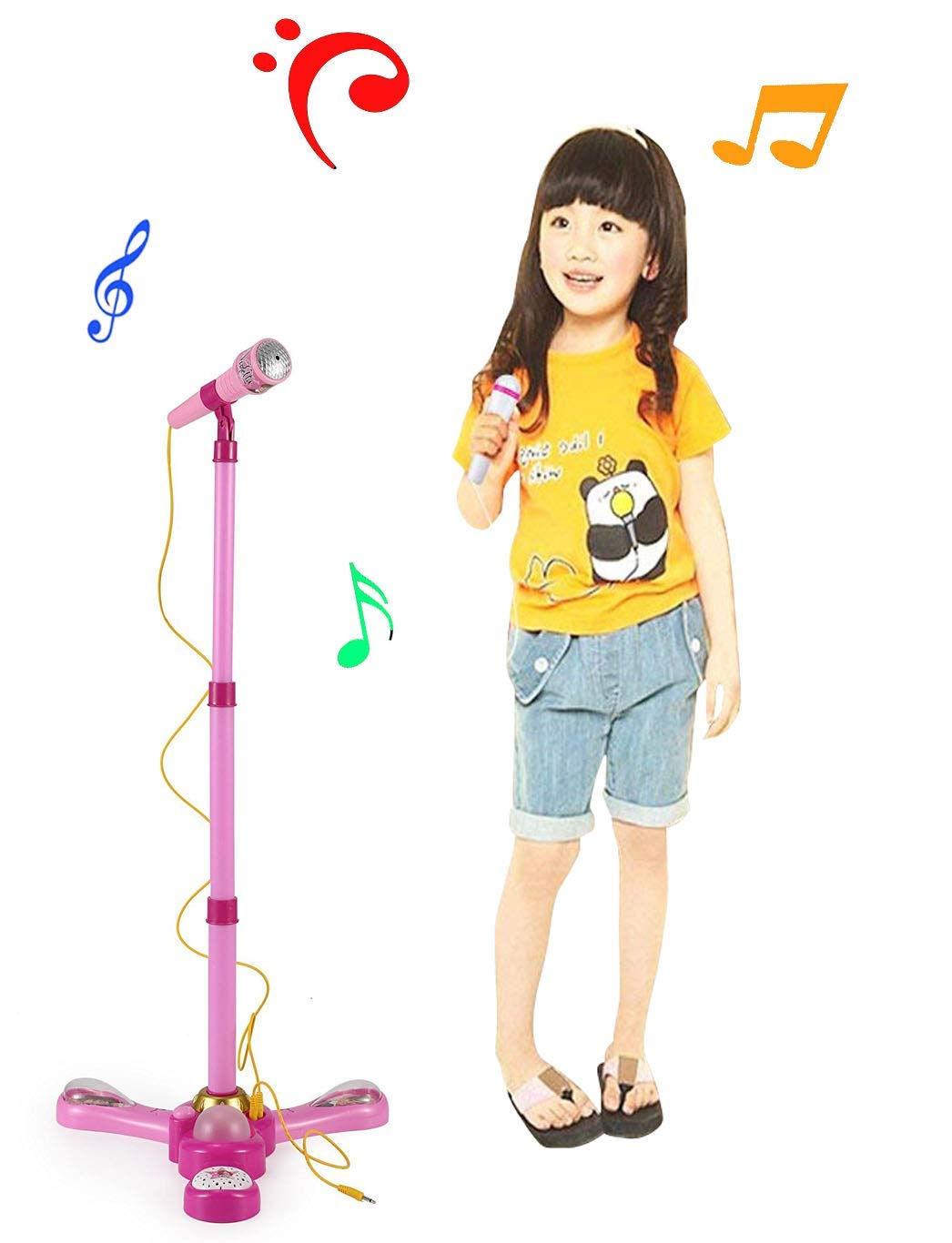 Kids Karaoke Pink Stand Up Microphone Toy Play Set w/ Built In MP3 Jack