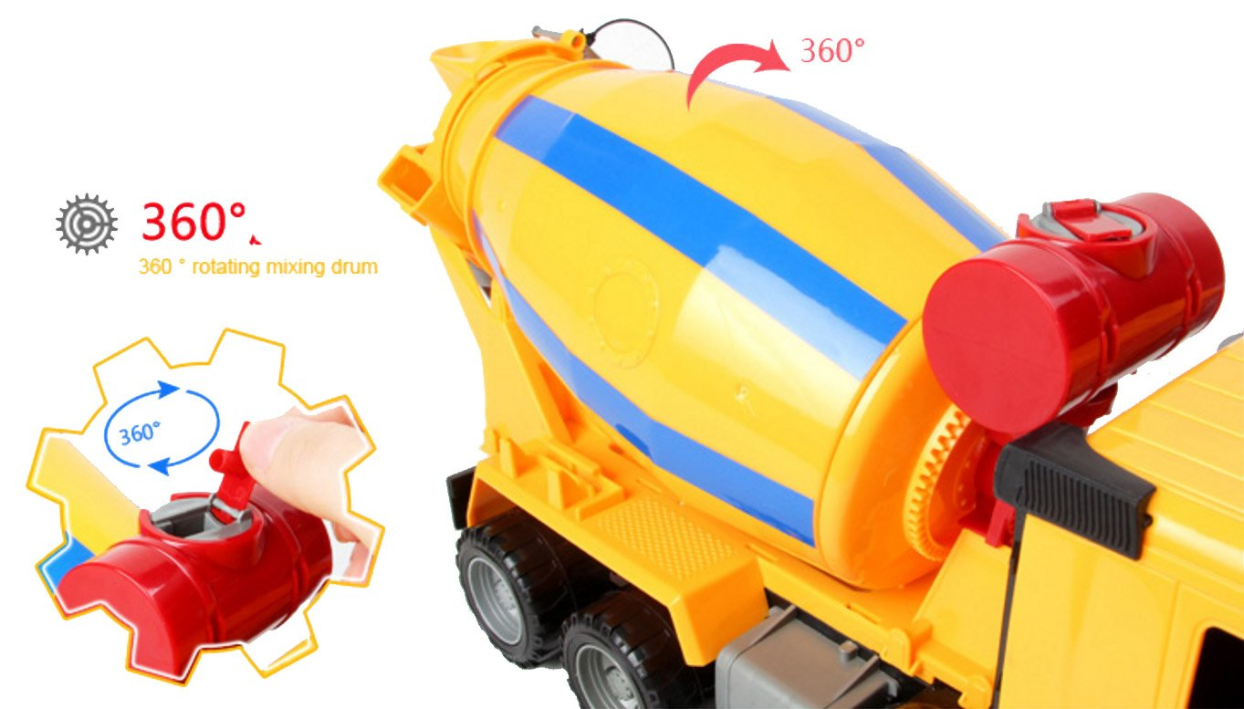 "14"" Oversized Friction Cement Mixer Truck Construction Vehicle Toy for Kids"
