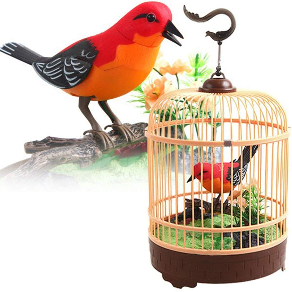 Singing & Chirping Bird Toy in Cage | Realistic Sounds & Movements | Sound Activated