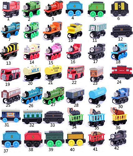 5pcs/lot Wooden Magnetic Thomas Circus Train Donald Lady Gordon and Friends Lorry Track Railway Vehicles Diecast Toy Multiple types, random delivery