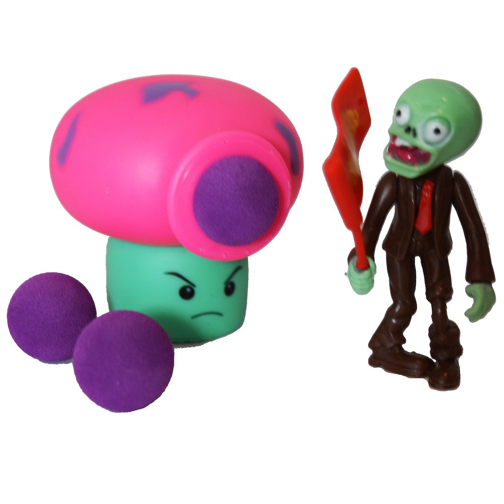 Party PVZ Plant Puff-shroom Mushroom Ball Popper Zombie Action Figure Toy