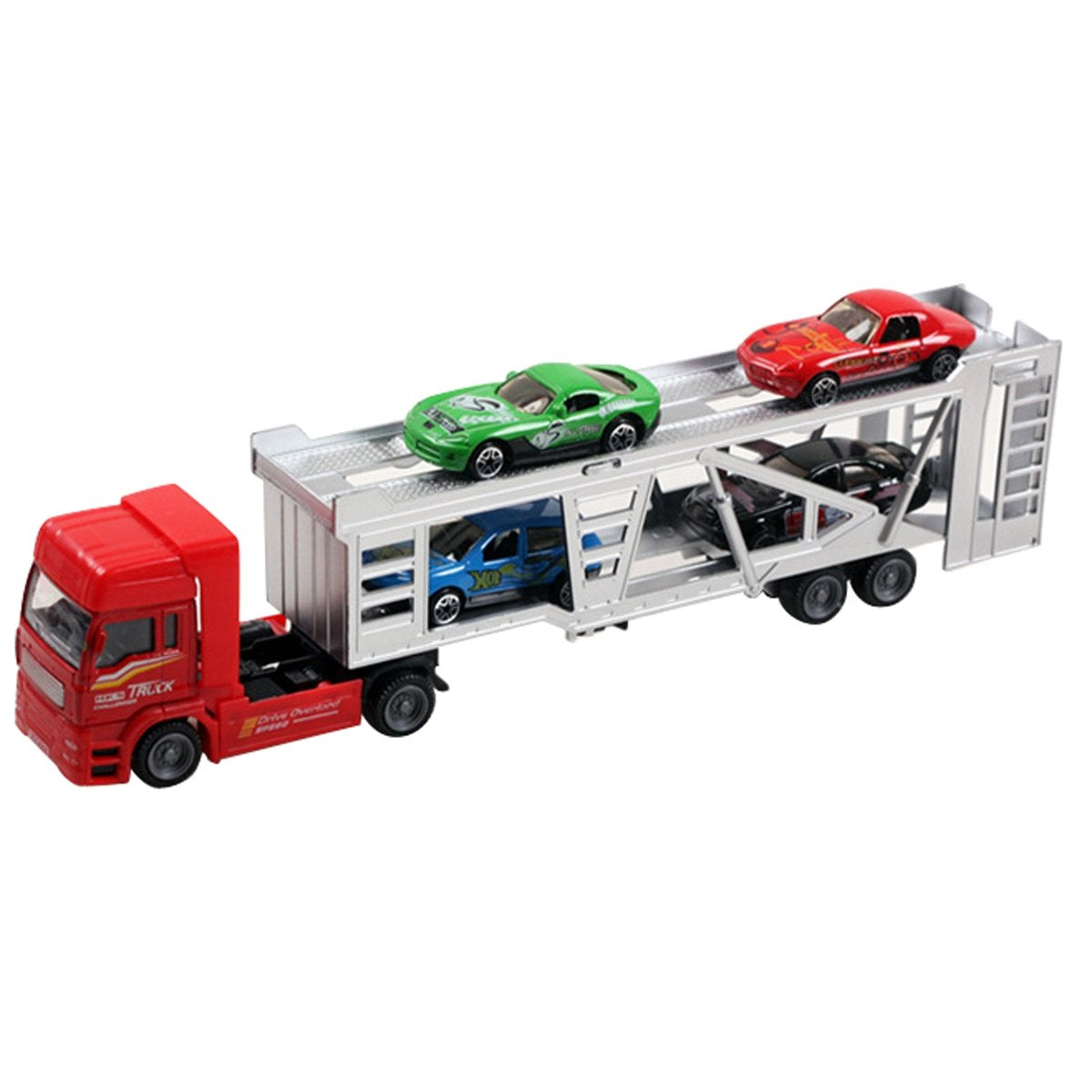 Aivtalk Transport Trailer Car Carrier Truck Toy for Boys (includes 4 Cars) - Multicolor