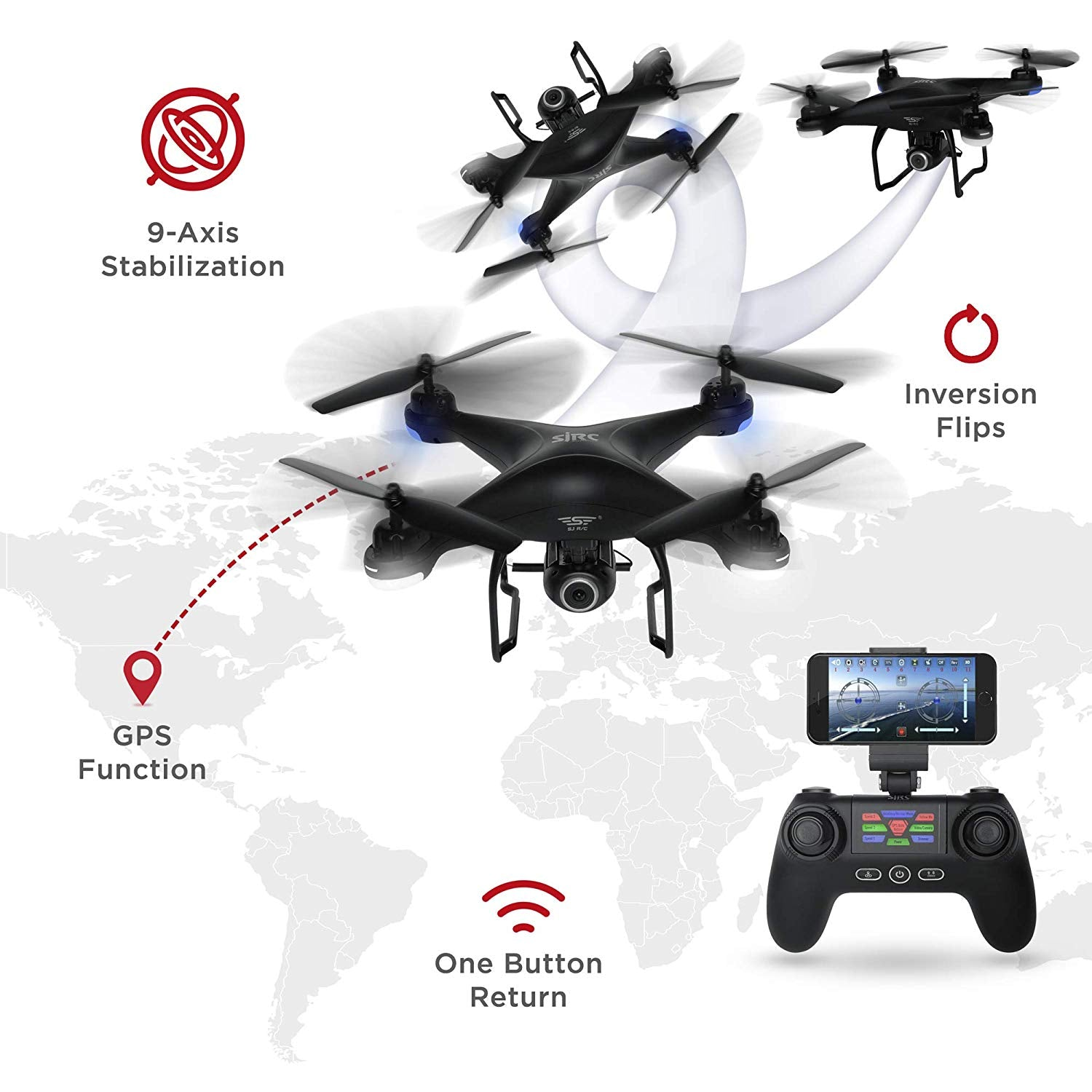 2.4G FPV RC Quadcopter GPS Drone w/ 720P Live HD Wifi Camera, VR Headset Compatible, Follow Mode, One-Key Takeoff/Landing, Auto-Return, Headless Mode, Altitude Hold, Extra Battery