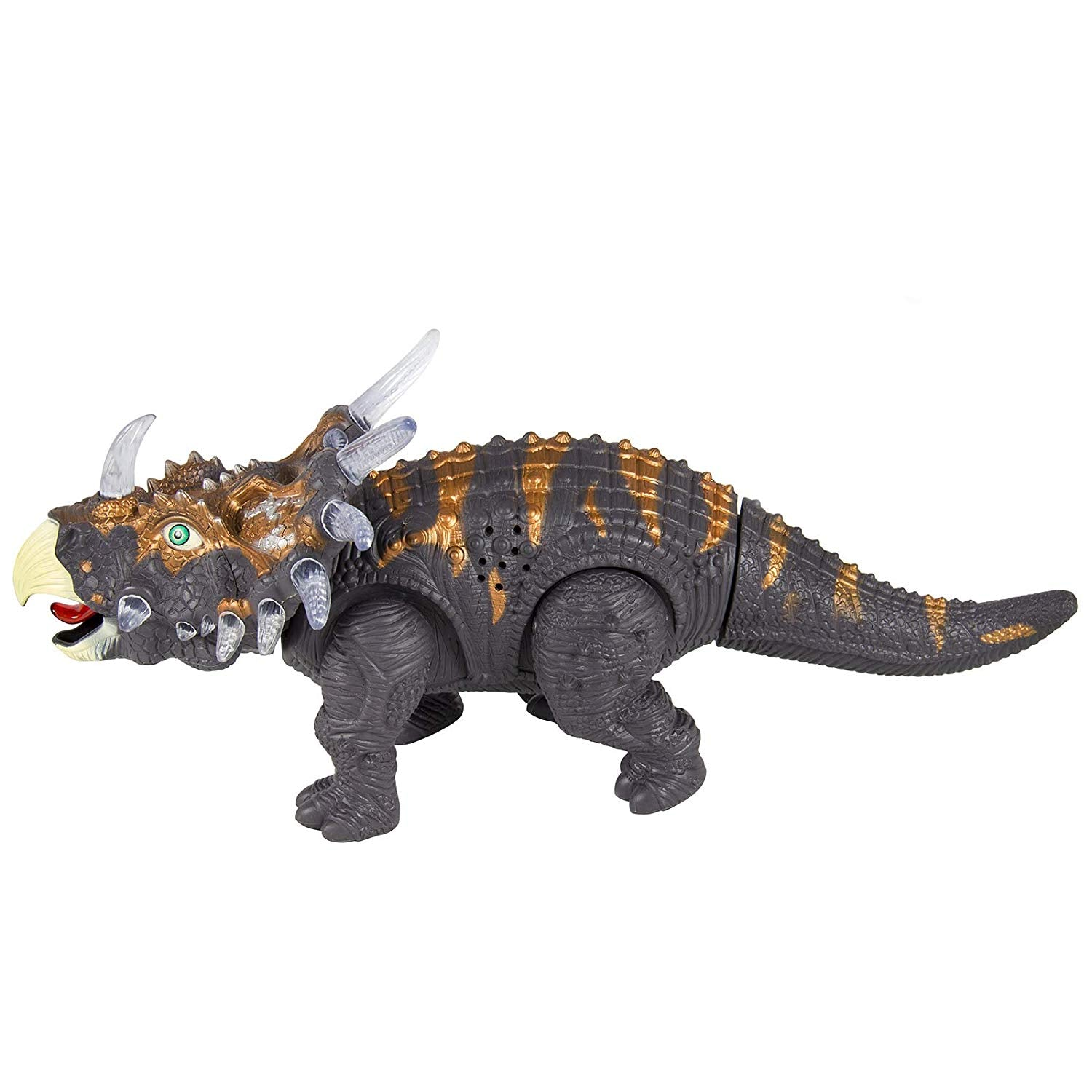 14in Kids Interactive Walking Moving Triceratops Dinosaur Animal RC Toy Figure w/ Lights, Sound