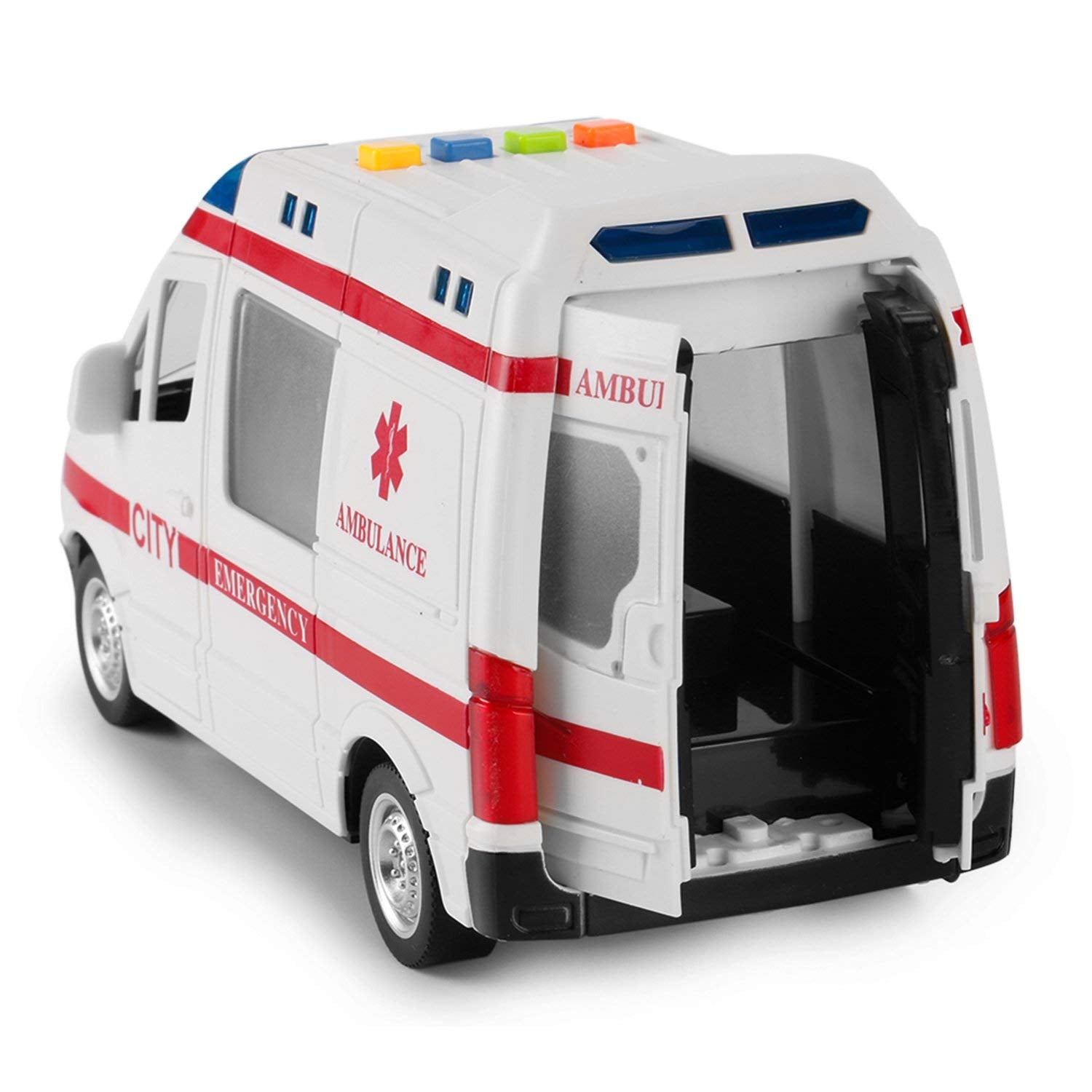 Large Friction Powered Rescue Ambulance 1:16 Toy Emergency Vehicle w/ Lights and Sounds