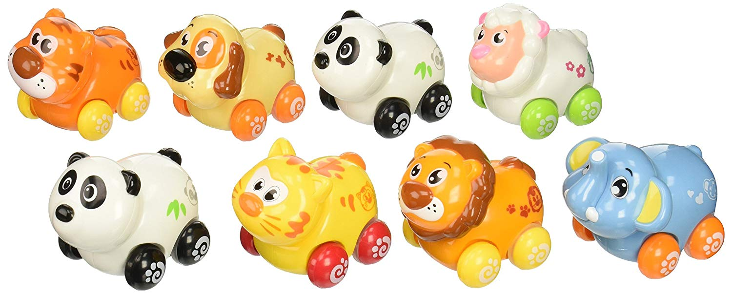 Set of 8 Push and Go Friction Powered Animal Cars, Panda, Lion, Dog, Cat, Sheep, Tiger and Elephant