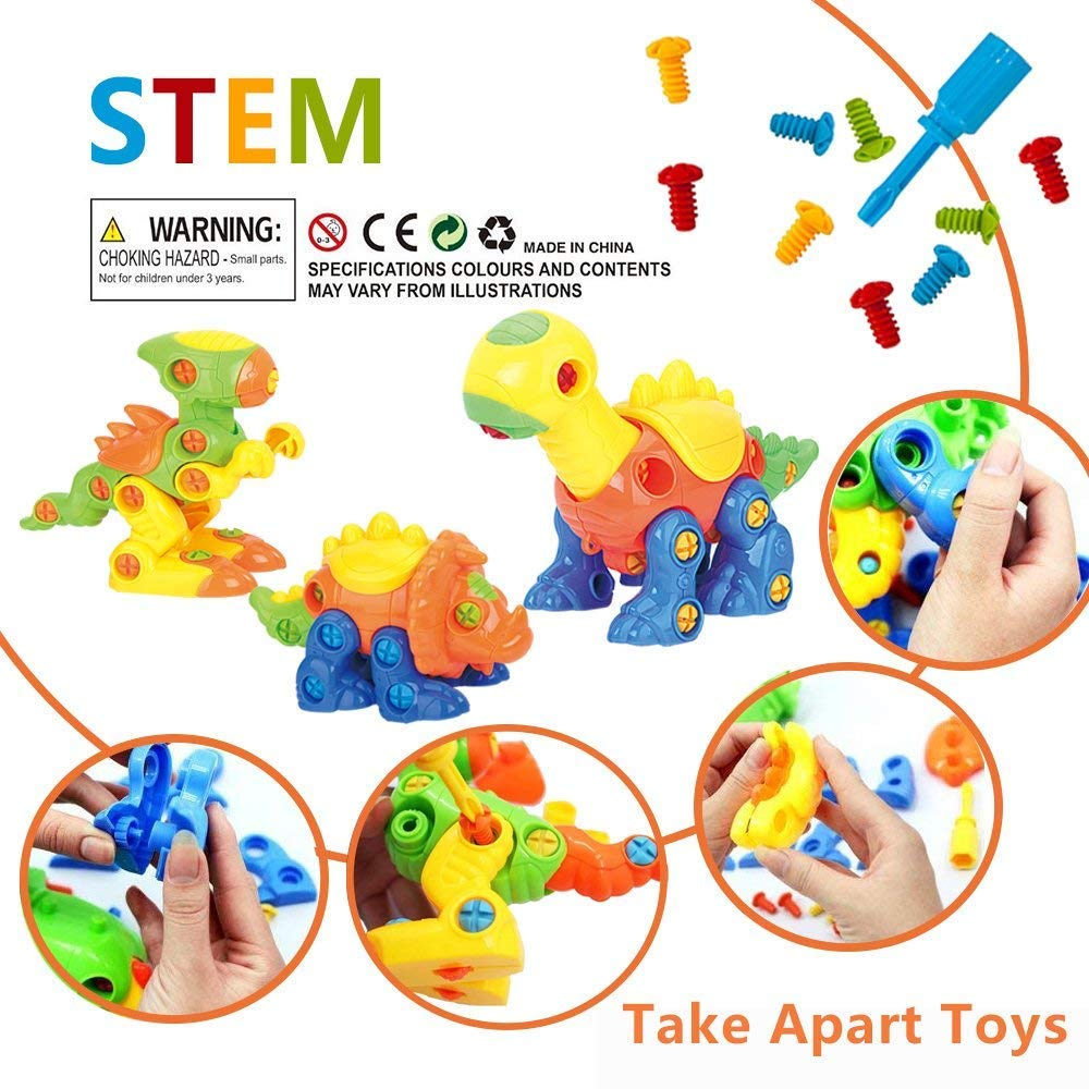 Build-A-Dino Take Apart Dinosaur Toys | 106-Piece Set of 3 Construction Engineering Building STEM Learning Kids Puzzle Playset with Tools and Screws