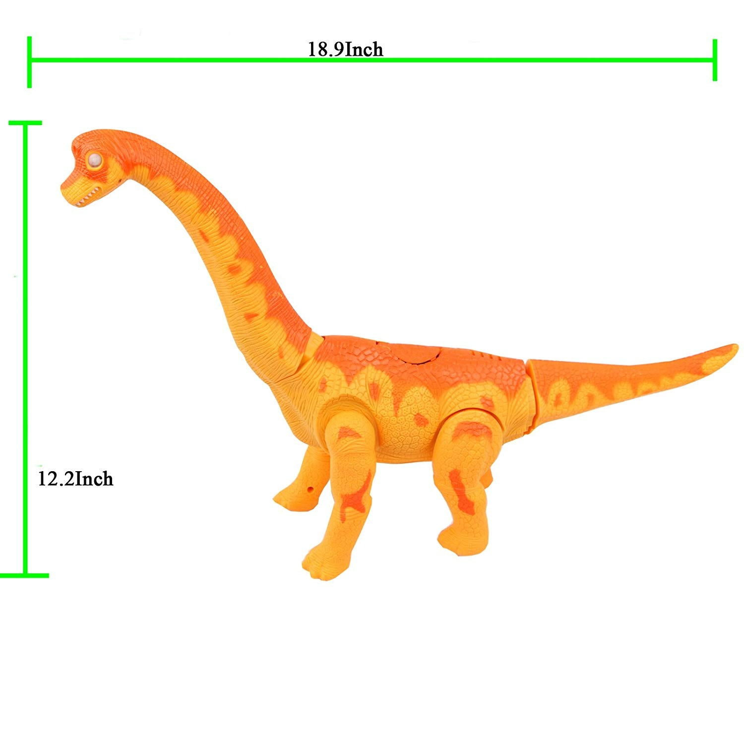 Sun Cling Electronic Toys Orange Walking Brachiosaurus Dinosaur