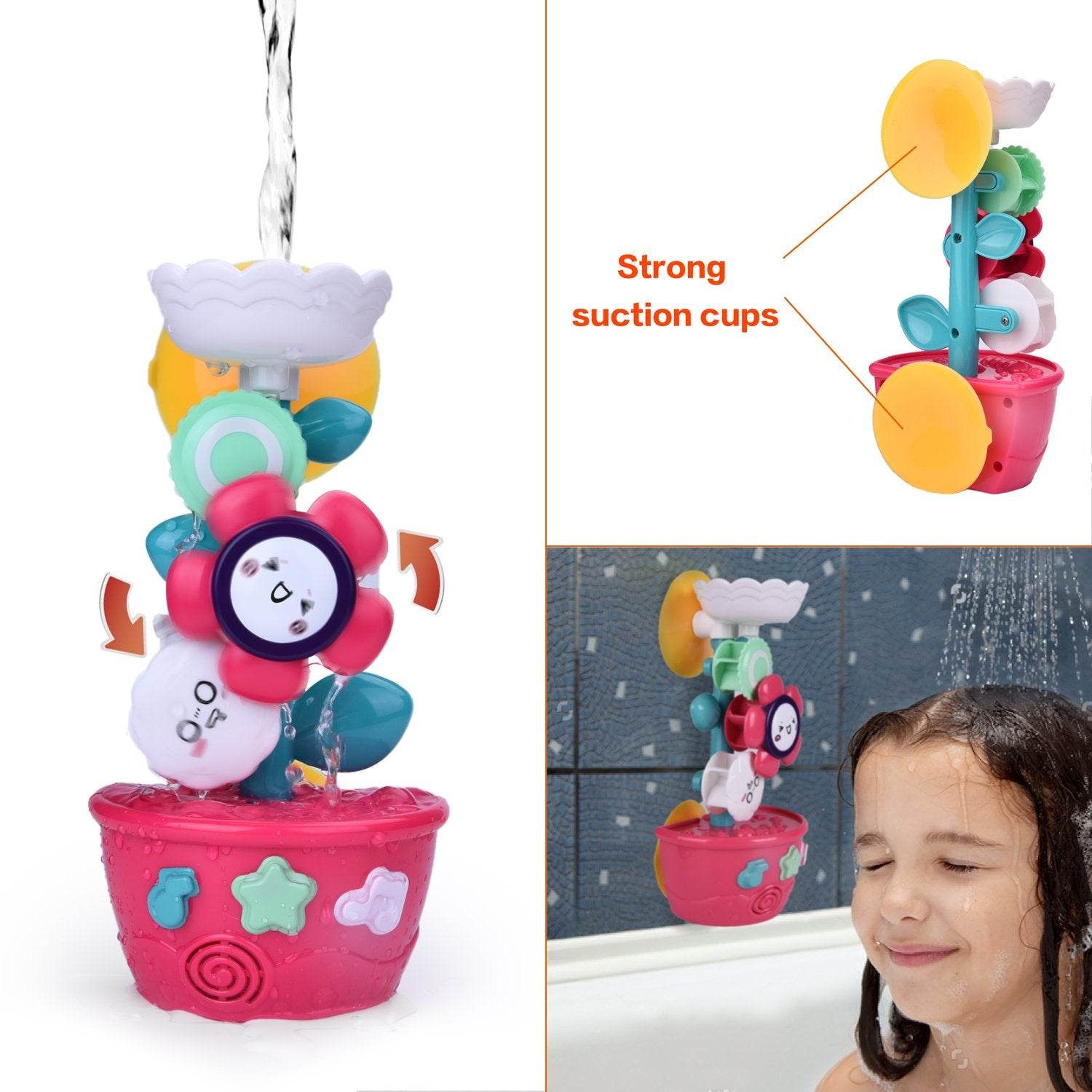 9 PCs Bath Toys Toddlers, Flower Waterfall Water Station Garden Squirter Toys, Stacking Cups Watering Can, Bath Toy Organizer Included Xmas Gift for Kids