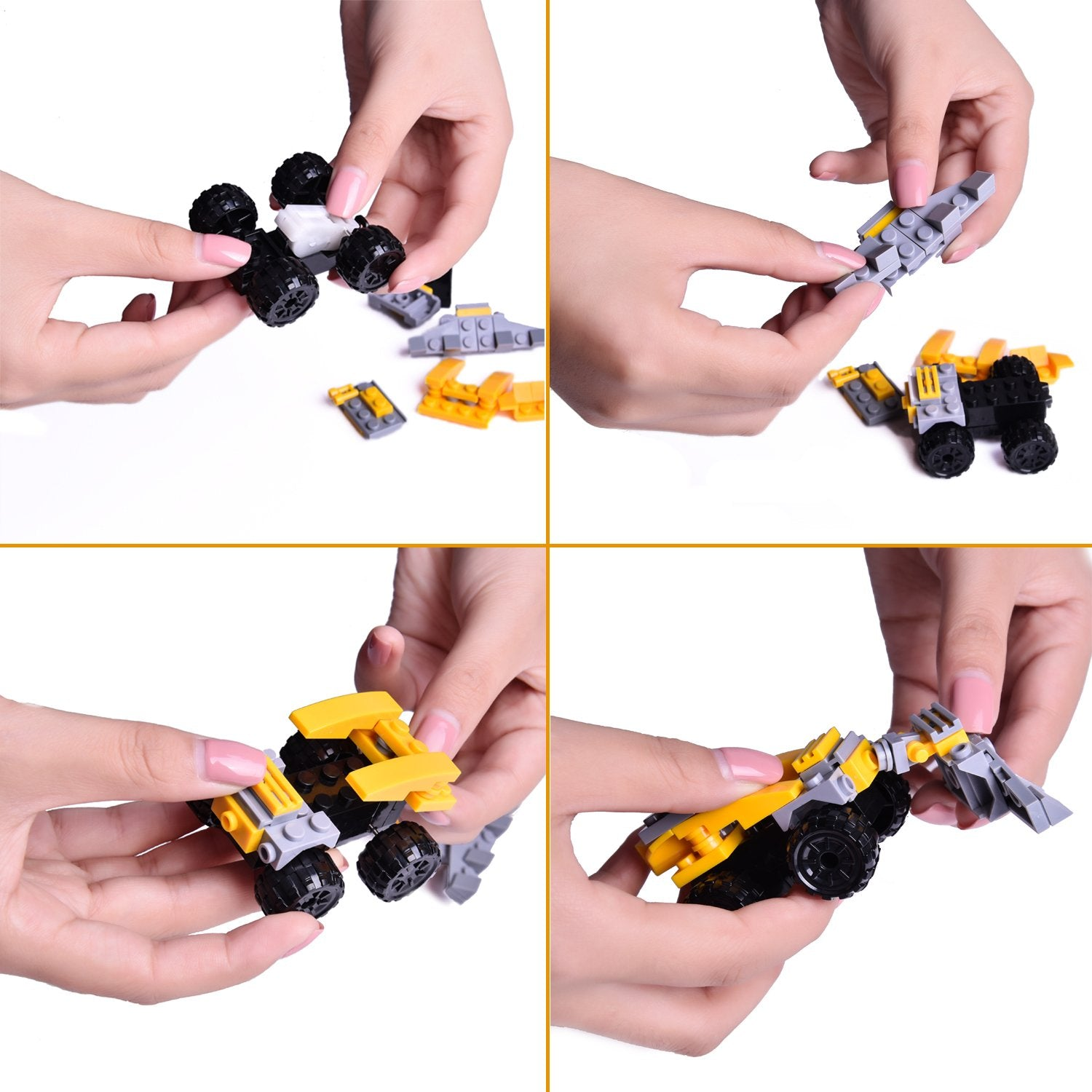 Mini Building Blocks Cars for Boys and Girls, Goodie Bags Fillers, Birthday Party Favors, Kids Prizes, 4 Boxes