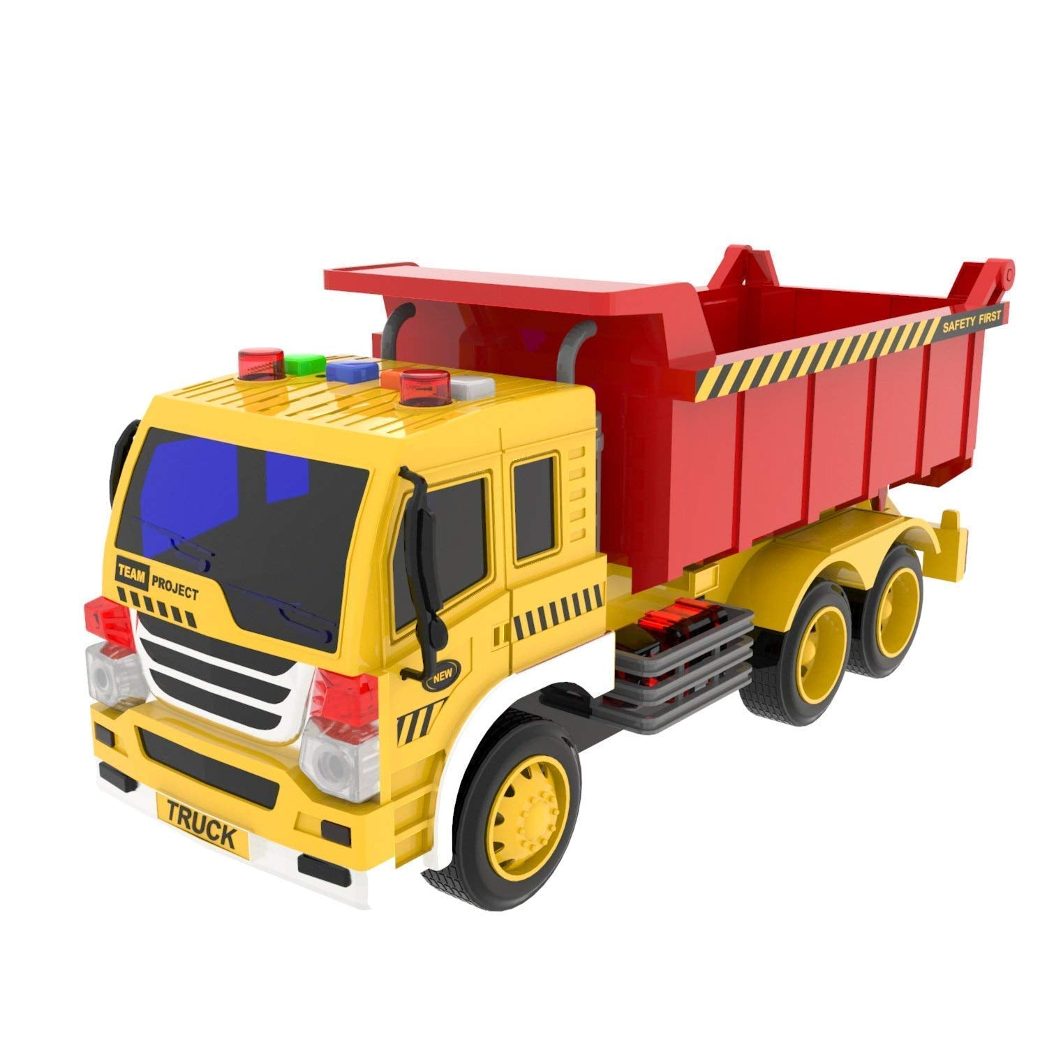 Dump Truck Toy Friction Powered Construction Toy Trucks with Sounds and Lights for Kids Gifts( Batteries Included )