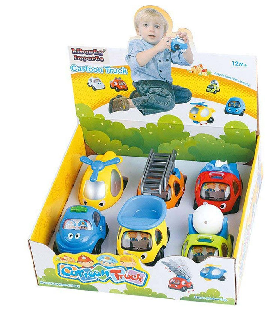 Cartoon Cars and Trucks Play Vehicles Set for Toddlers (6-Pack)