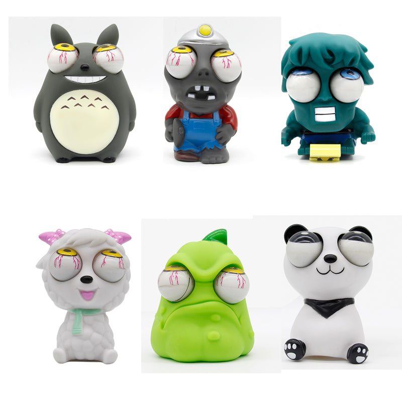 8 styles Funny Cartoon Animal Small Squeeze Antistress Toy Pop Out Eyes Doll Stress Relief Venting Joking Decompression Toy