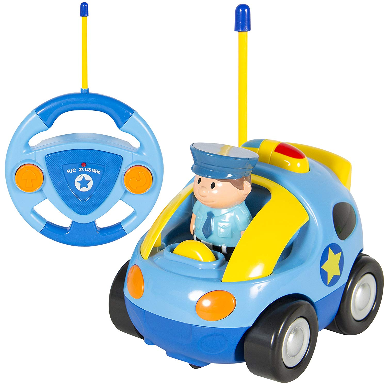 2-Channel Beginners Kids Remote Control Cartoon Police Car