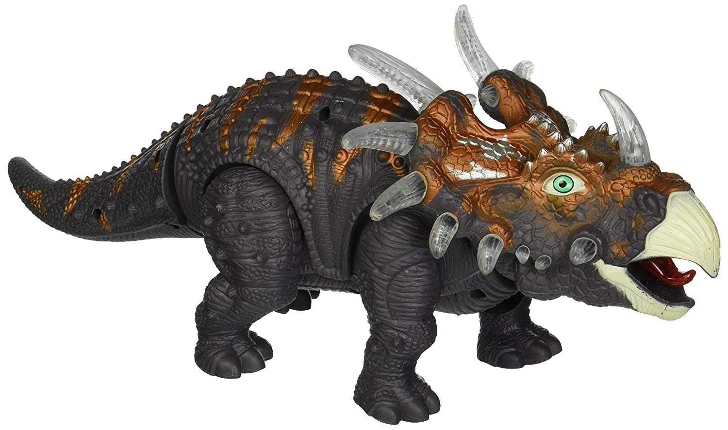 Walking Dinosaur Triceratops Toy Figure with Many Lights & Sounds