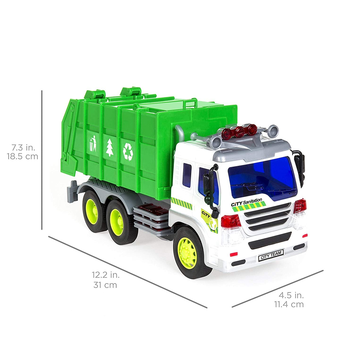 1/16 Scale Friction Powered Toy Recycling Garbage Truck w/ Lights and Sound (Green)
