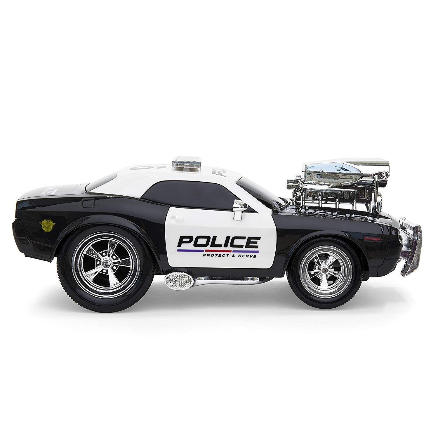 2.4GHz Remote Control Police Car w/ Lights, Rechargeable Batteries, USB Cable - Black