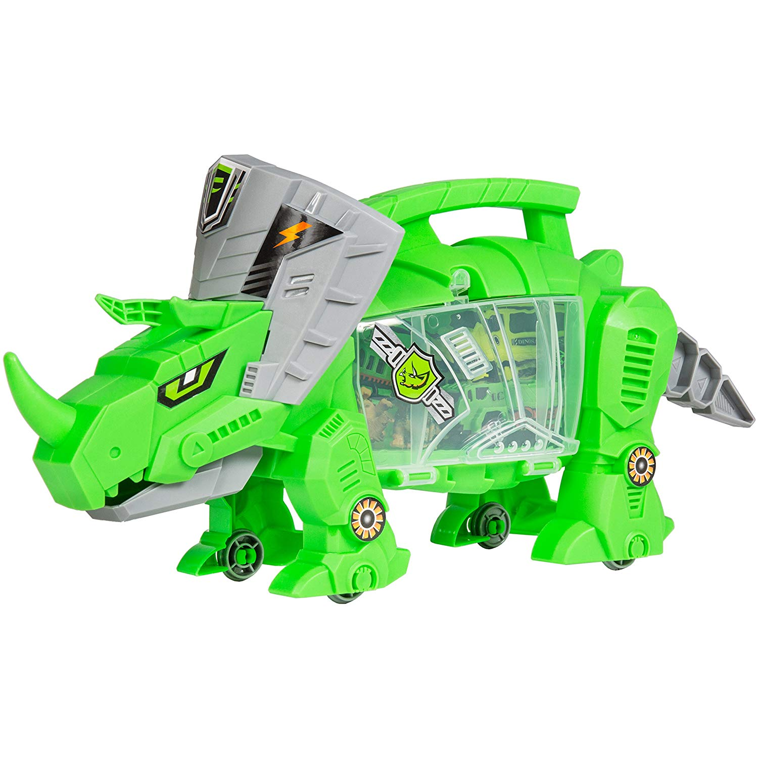 Kids Triceratops Toy Car Carrier Holder w/ Carrying Handle, Wheels, 4 Vehicles, 4 Dinosaurs - Green