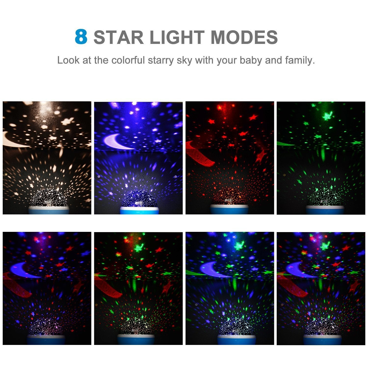 Boomile Baby Night Light, Star Light Rotating Projector, 4 LED Bulbs 8 Modes, Color Changing With USB Cable, Unique Gifts for Kids