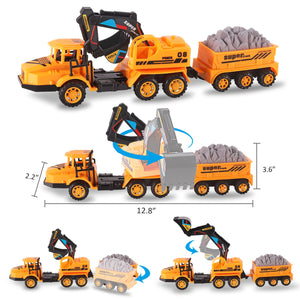 Set of 3 Deluxe Construction Toy Vehicles Playset - Dump Truck, Cement Truck, Excavator