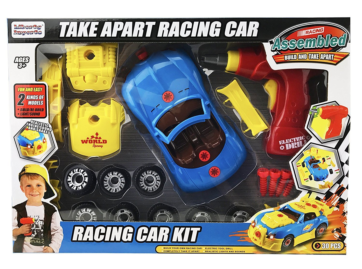 Kids Take Apart Toys | Build Your Own Racing Vehicle Toy Construction Playset | Realistic Sounds & Lights with Tools and Power Drill (Race Car)