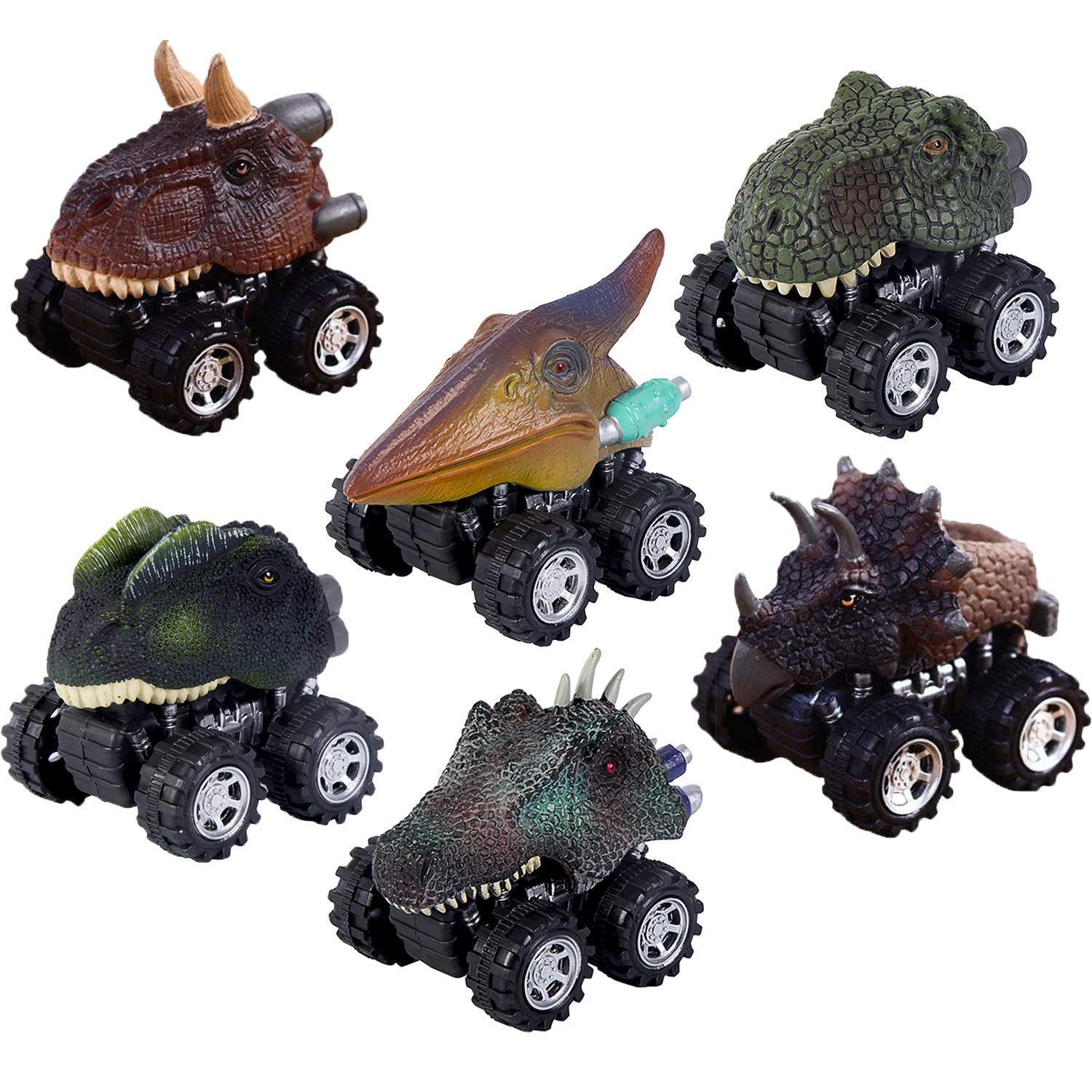 Aptoys Pull Back Dinosaur Cars 6-Pack Non-Toxic Plastic Dinosaur Cars Toys with Big Tire Wheel for 3-14 Year Old Kids Boys Girls Creative Gifts