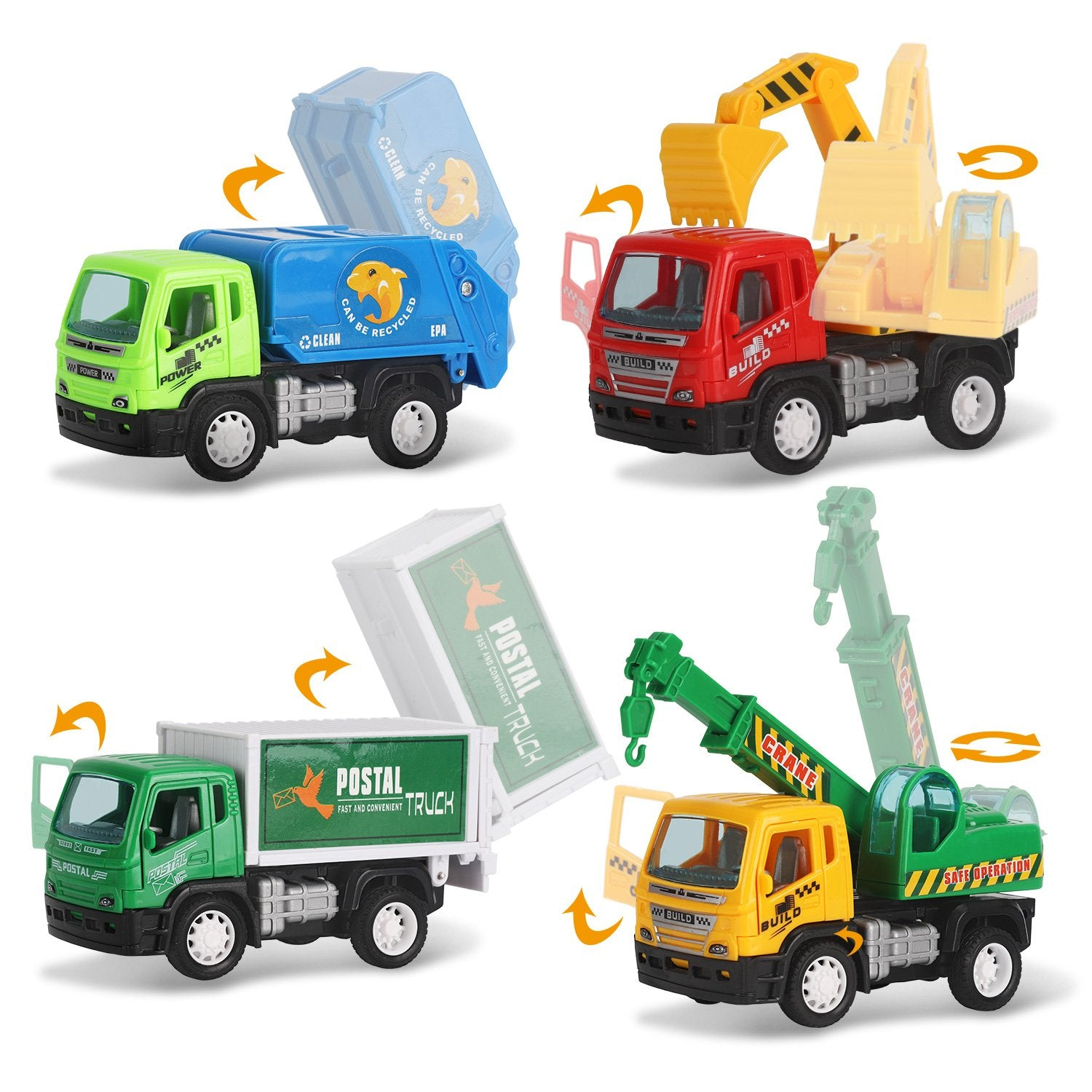 Set of 6 Pullback City Builder Construction Vehicles for Kids - Dump Truck, Cement Mixer, Garbage Truck, Excavator, Crane, Postal Truck