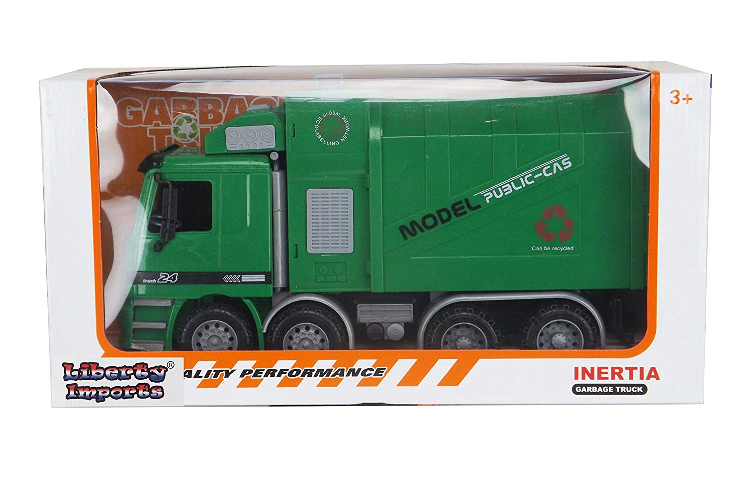 "14"" Oversized Friction Powered Recycling Garbage Truck Toy for Kids with Side Loading and Back Dump"