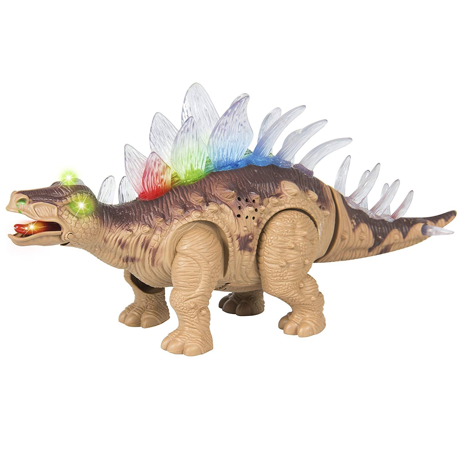 Kids Toy Walking Dinosaur Stegosaurus Toy Figure Lights & Sounds, Real Movement