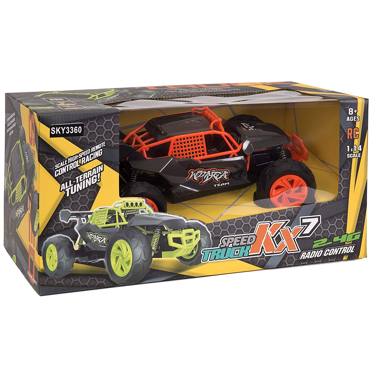 2.4G 1:14 High Speed Car with USB Charger (Black & Orange)