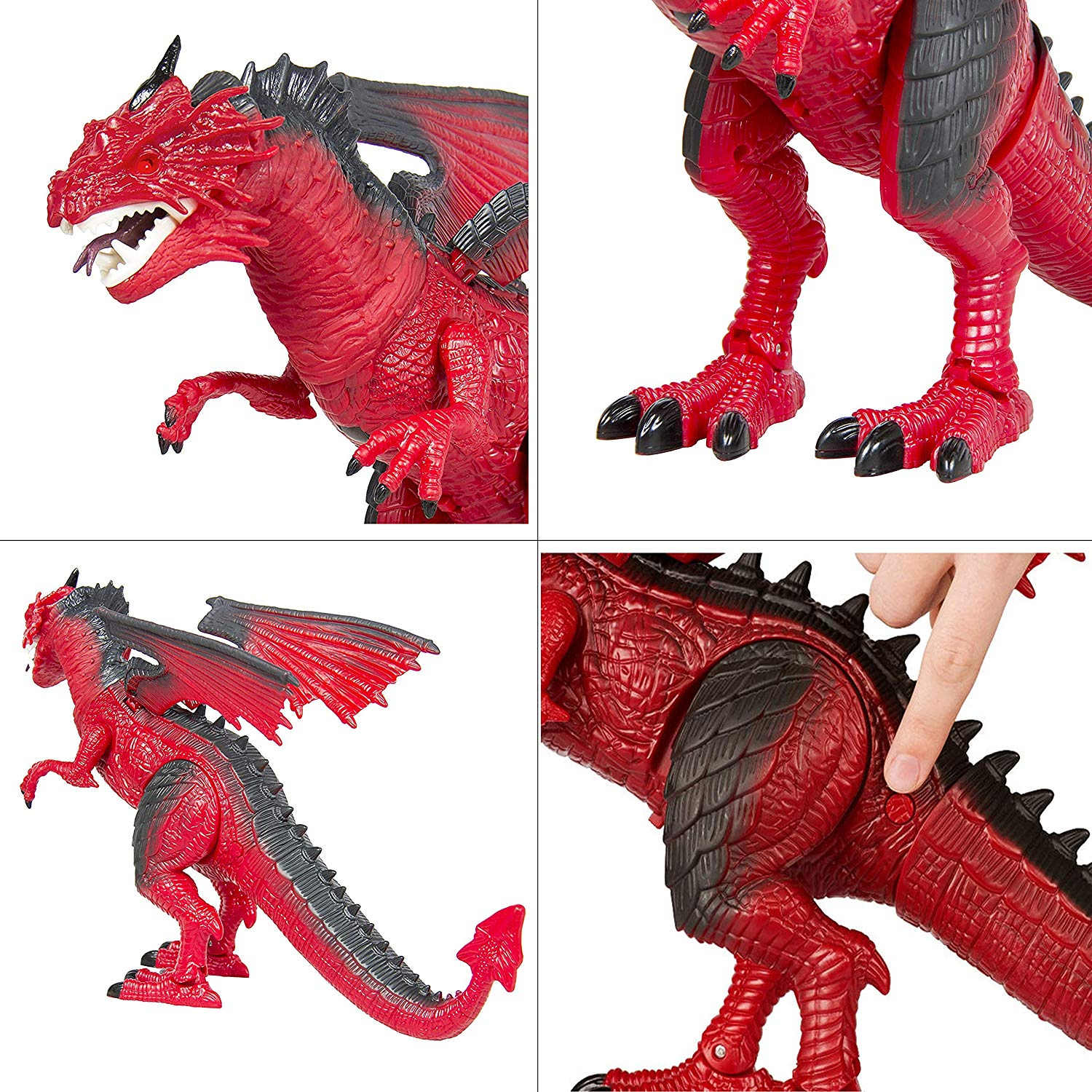 Dino Planet Remote Control R/C Walking Dinosaur Toy with Shaking Head, Light Up Eyes and Sounds (B/O Dragon)