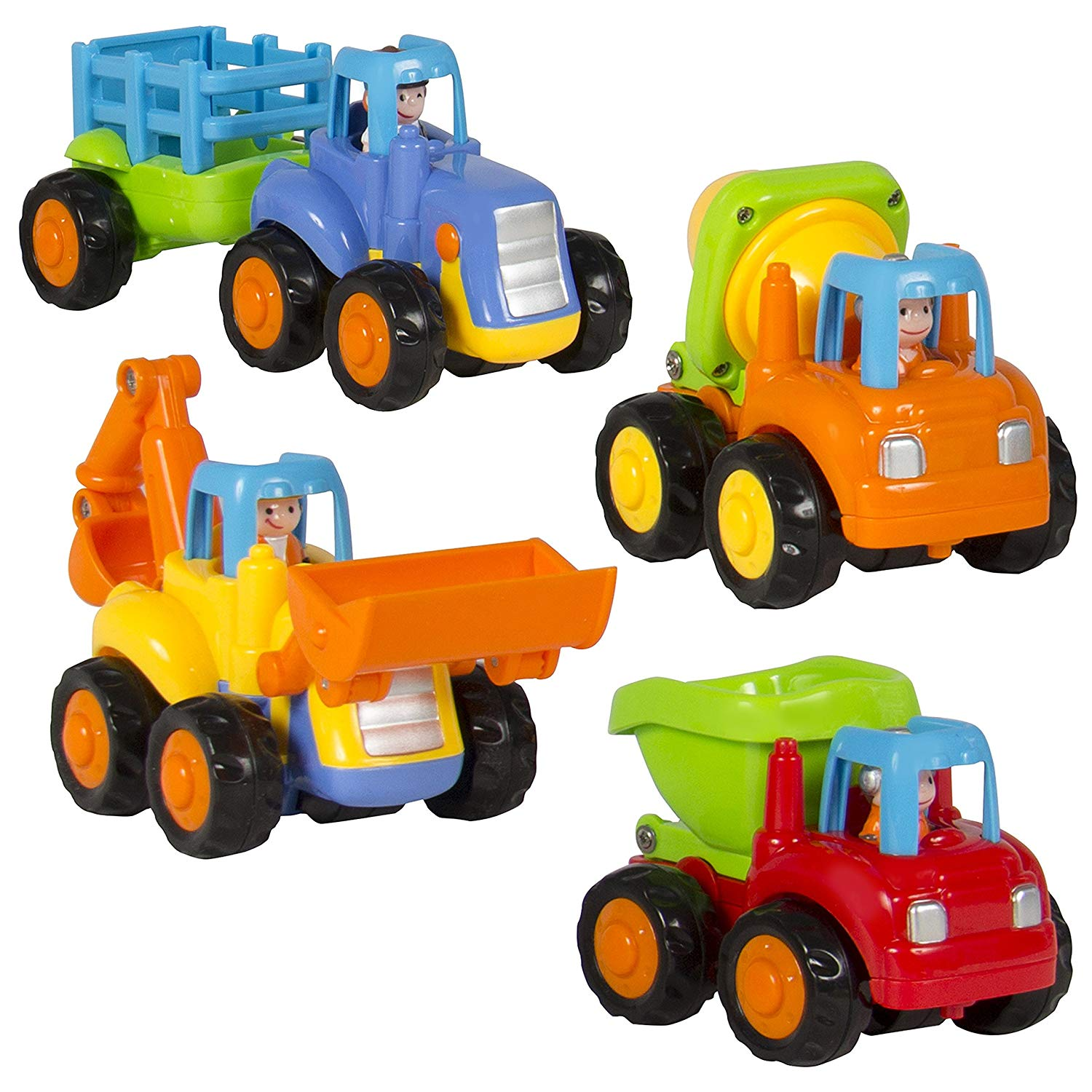 (Set of 4) Push and Go Friction Powered Car Toys,Tractor, Bull Dozer truck, Cement Mixer, Dump truck