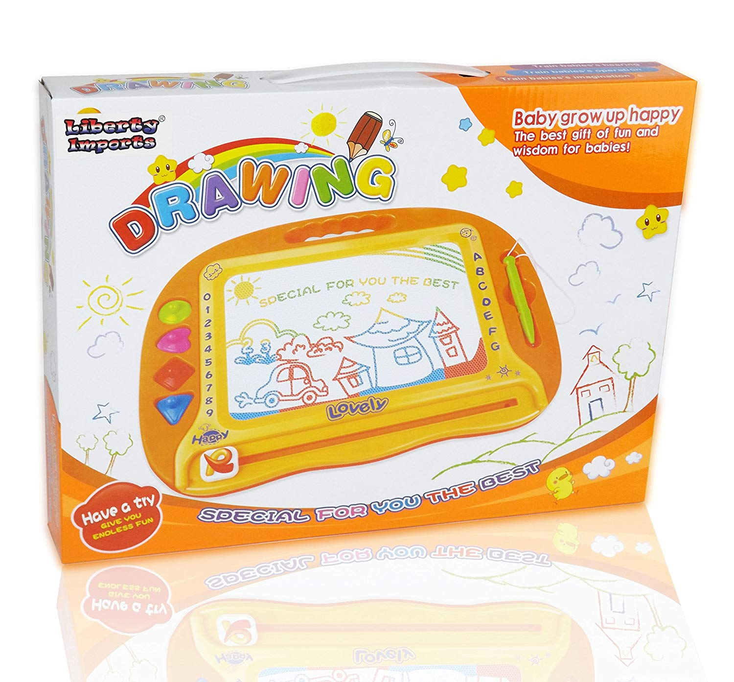 Rainbow Color Magnetic Drawing Doodle Board for Kids with 4 Shape Stampers