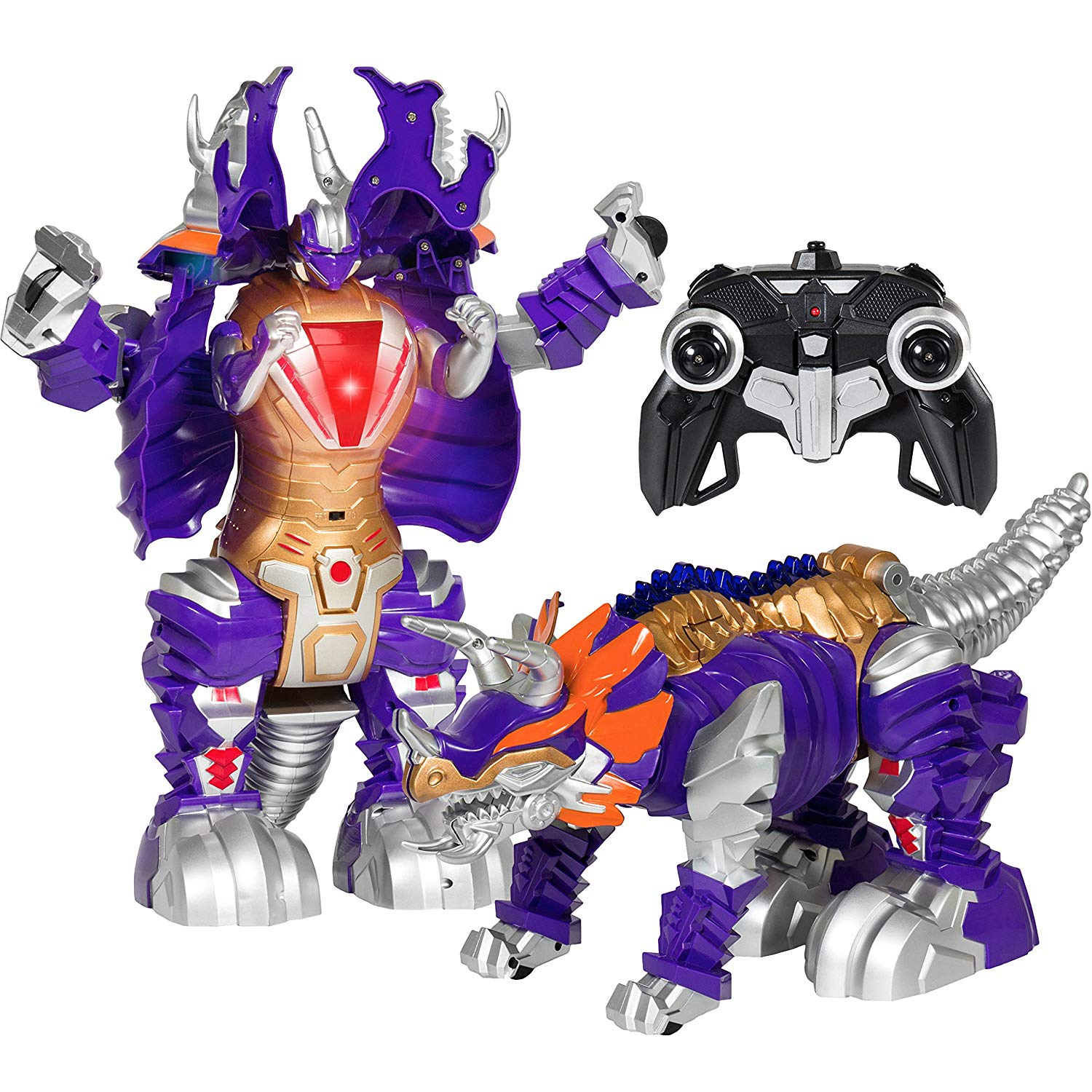 Kids Transformer Remote Control Robot Dinosaur Car w/USB Charger, Lights, and Sounds -Purple/Gold
