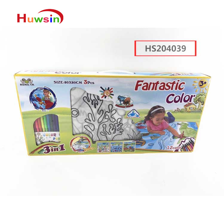 HS204039, Huwsi Toys, 3in1 drawing set,12color, Educational toy