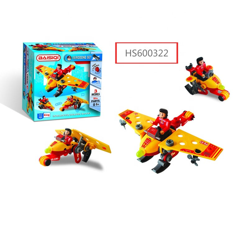 HS600322, Yawltoys, High Quality Airplane block DIY toy for kids