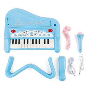 Children's simulation multi-function electronic piano, light music, microphone, microphone, 1-3 year old male and female piano toys