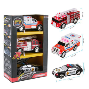 3-in-1 True Hero Vehicles Kids Toy Cars PlaySet | 3-Button LED Light & Sound Effects (Emergency Vehicles)