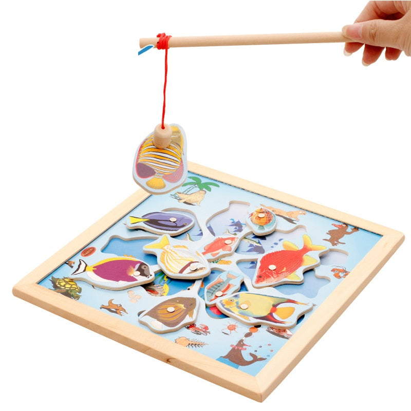 Wooden toys _ magnetic fishing Toy Puzzle baby hand 1-3 parent-ch...