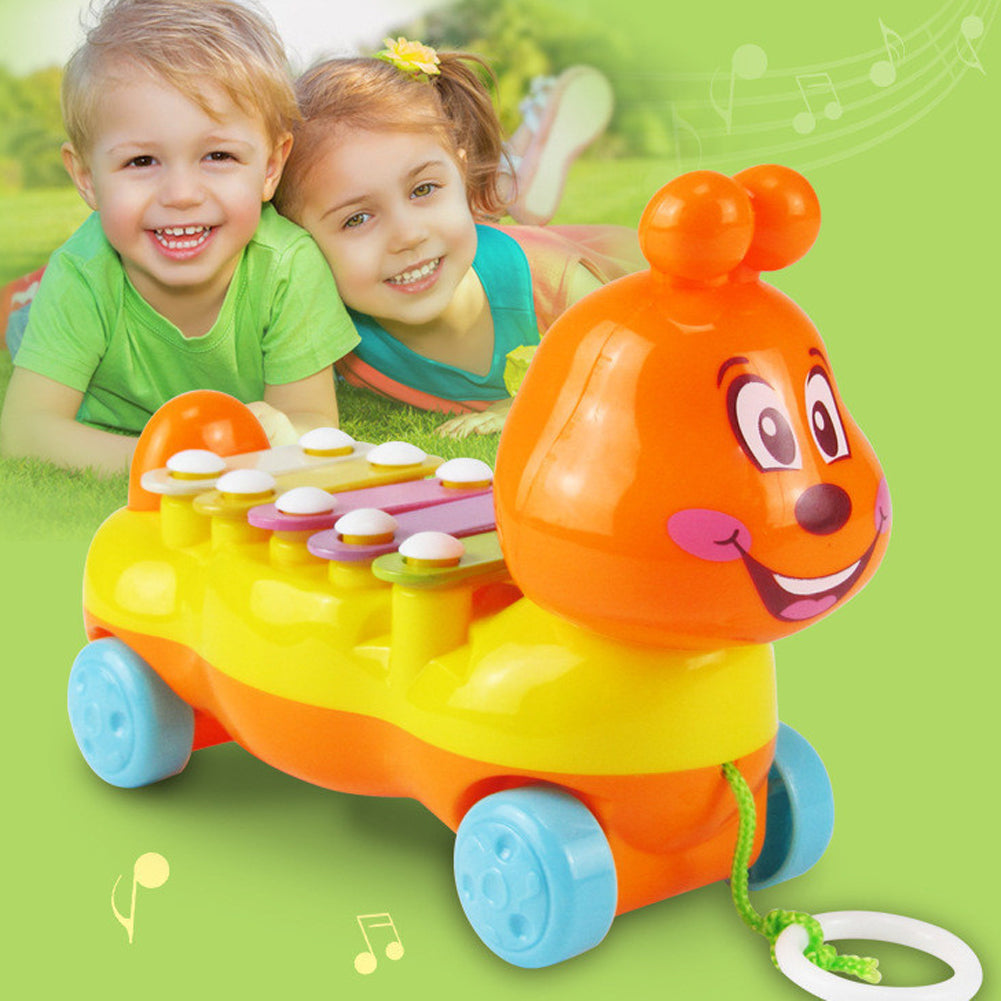 Musical Instrument Cartoon Animal Toy Caterpillar Glockenspiel Baby Kids Baby Birthday Gift 5 Scales Music Toy Drawable Toy