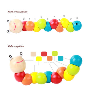 Kids Puzzle Educational Wooden Toys Color Count Fingers Flexible Training Baby Children Spinner Twisting Worm Toys for Children