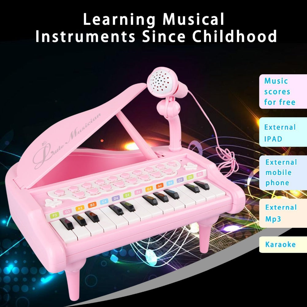 BAOLI Piano Keyboard Toy 24 Keys Pink Electronic Musical Multifunctional Instruments with Microphone