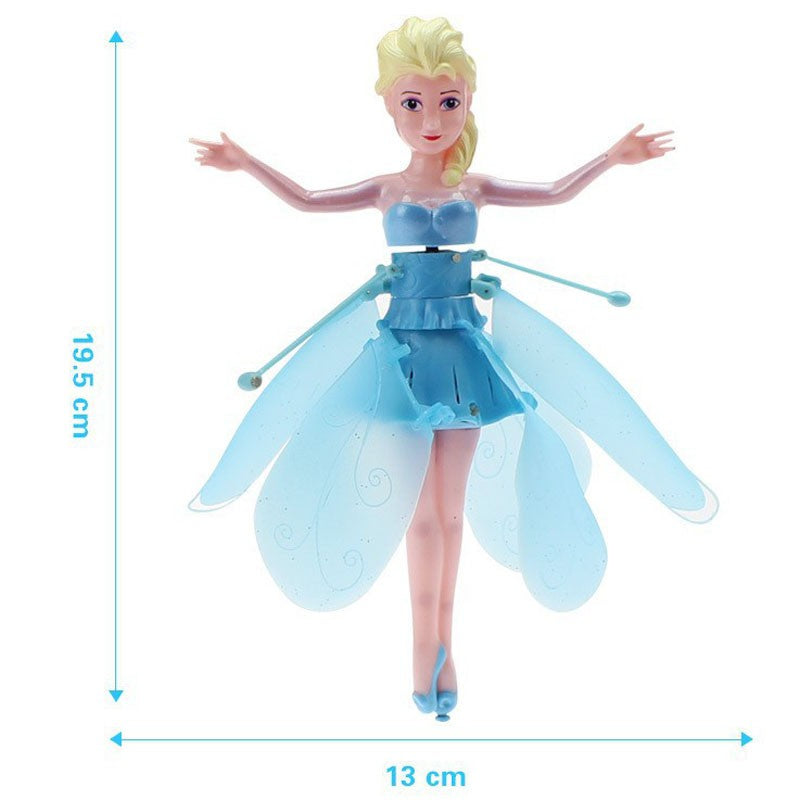 Flying Fairy Elsa Doll With Music Toy Infrared Induction Control Flying Dolls For Girls Remote Control Toys Christmas Gift XD204